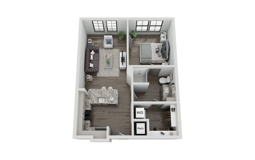 A1 - 1 bedroom floorplan layout with 1 bath and 643 to 655 square feet.