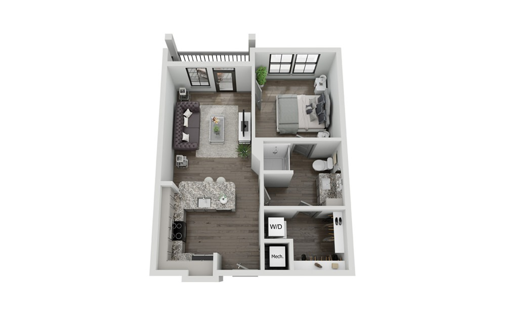 A1P - 1 bedroom floorplan layout with 1 bath and 671 to 673 square feet.