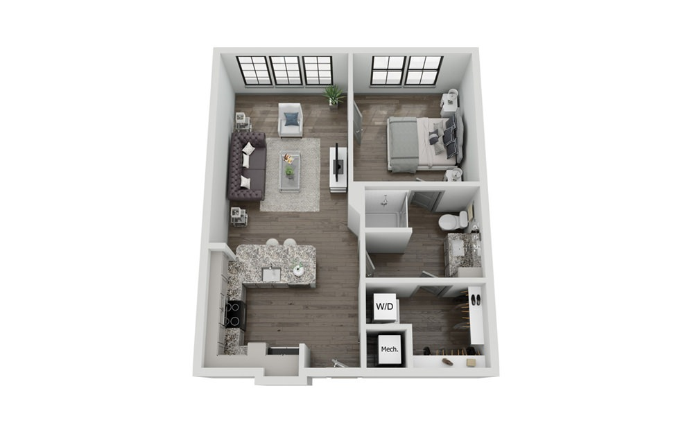 A2 - 1 bedroom floorplan layout with 1 bath and 671 to 674 square feet.