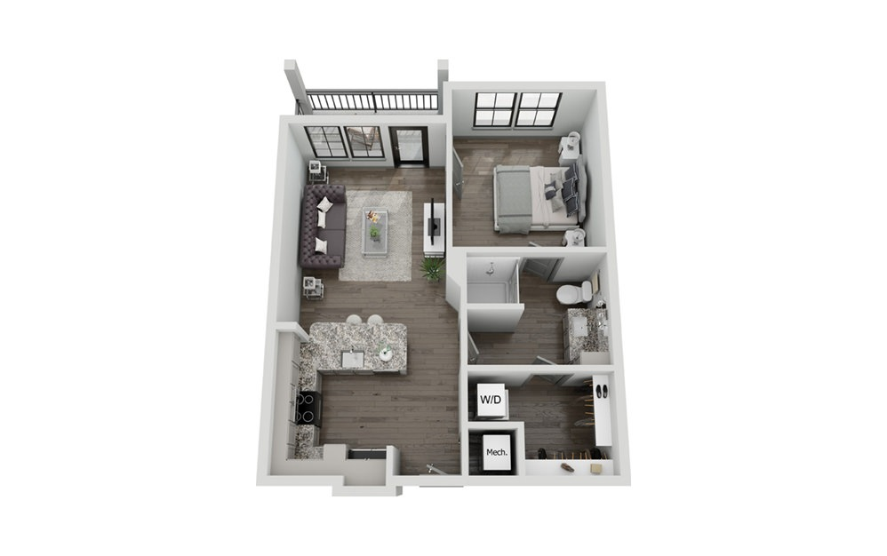 A2P - 1 bedroom floorplan layout with 1 bath and 733 to 737 square feet.