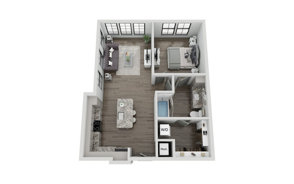 A3 - 1 bedroom floorplan layout with 1 bath and 853 square feet.
