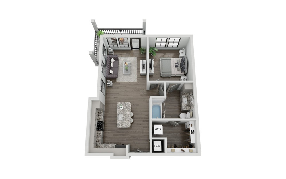 A3P - 1 bedroom floorplan layout with 1 bath and 853 square feet.