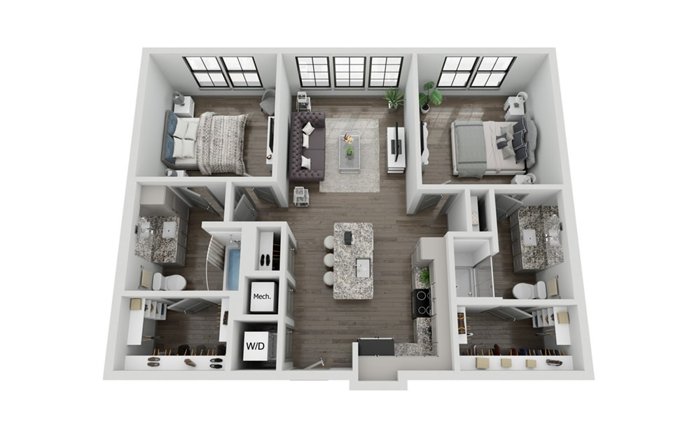 B1 - 2 bedroom floorplan layout with 2 baths and 1010 square feet.