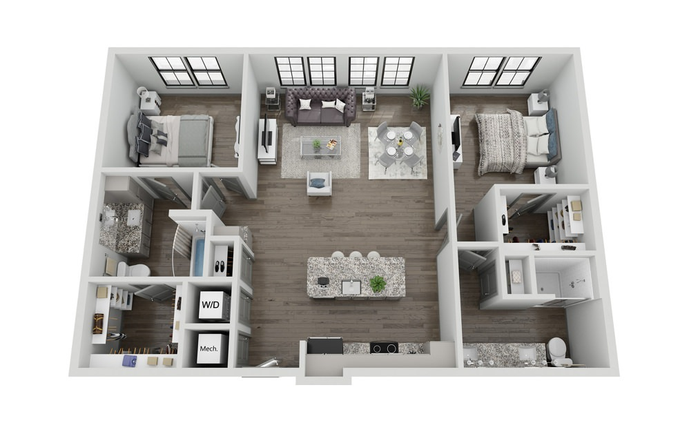 B2 - 2 bedroom floorplan layout with 2 baths and 1206 square feet.