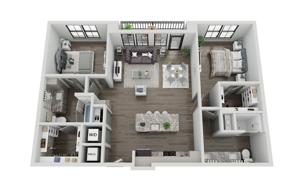 B2P - 2 bedroom floorplan layout with 2 baths and 1245 to 1272 square feet.