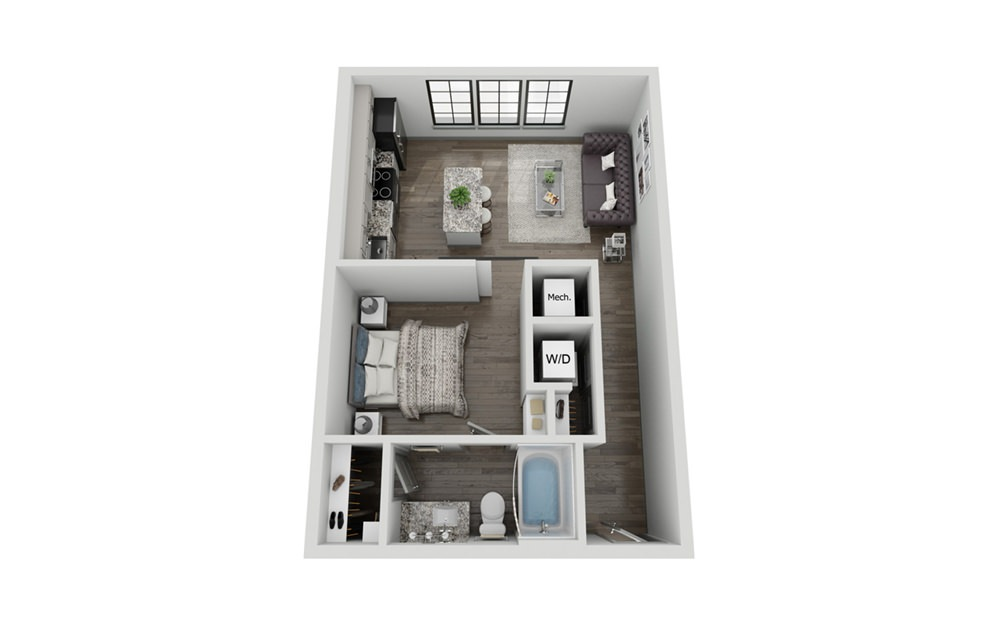 S1 - Studio floorplan layout with 1 bath and 590 square feet.